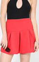 Lily Pleated Mini Skater Skirt In Red by Oops Fashion
