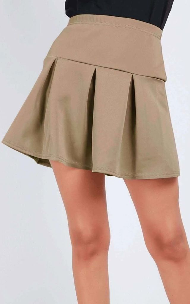 Lily Pleated Mini Skater Skirt In Camel by Oops Fashion