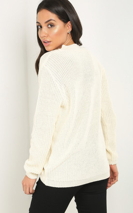 Sassiah Choker Neck Jumper In Cream by Oops Fashion