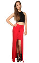 High Waisted Split Front Maxi Skirt in Red by Oops Fashion