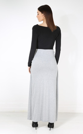 High Waisted Split Front Maxi Skirt in Grey by Oops Fashion