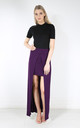 High Waisted Split Front Maxi Skirt in Purple by Oops Fashion