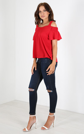 Harriette Cold Shoulder Frill Sleeve Top In Red by Oops Fashion