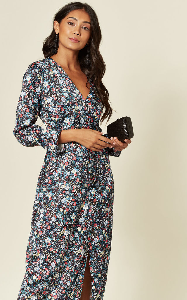Long Sleeve Wrap Front dress in Mixed Floral Print by D.Anna