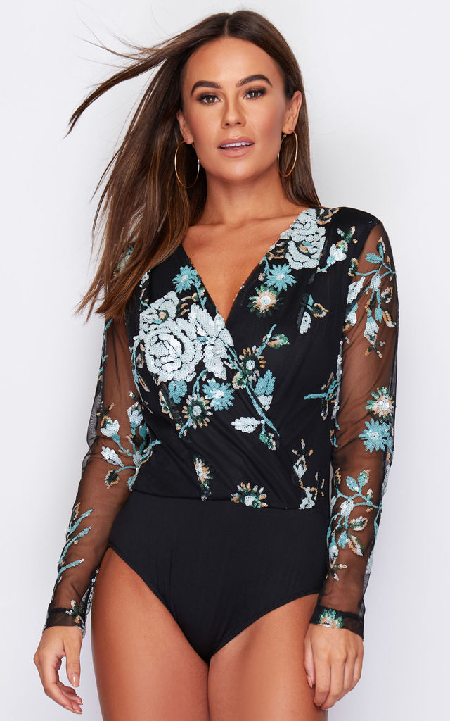 Eva Sequin Long Sleeve Bodysuit Black & Green Floral Sequin by Girl In Mind