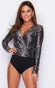 Eva Sequin Long Sleeve Bodysuit Black & Silver Sequin by Girl In Mind