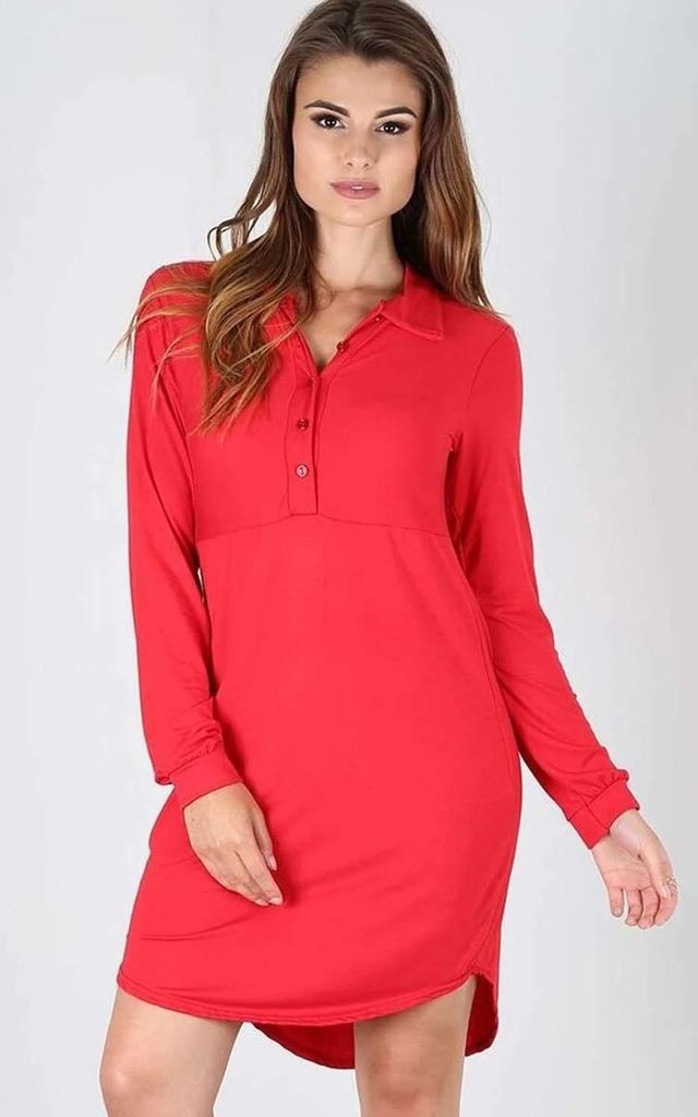 Lola Long Sleeve Mini Shirt Dress In Red by Oops Fashion
