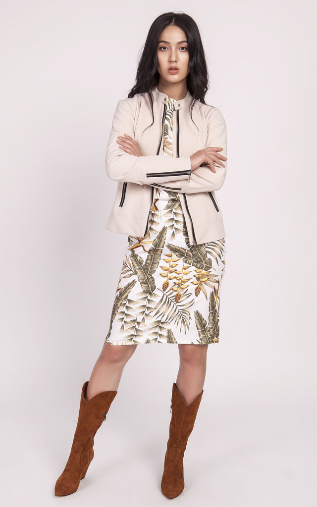 Moto Style Collarless Jacket with Zips in Cream by Lanti