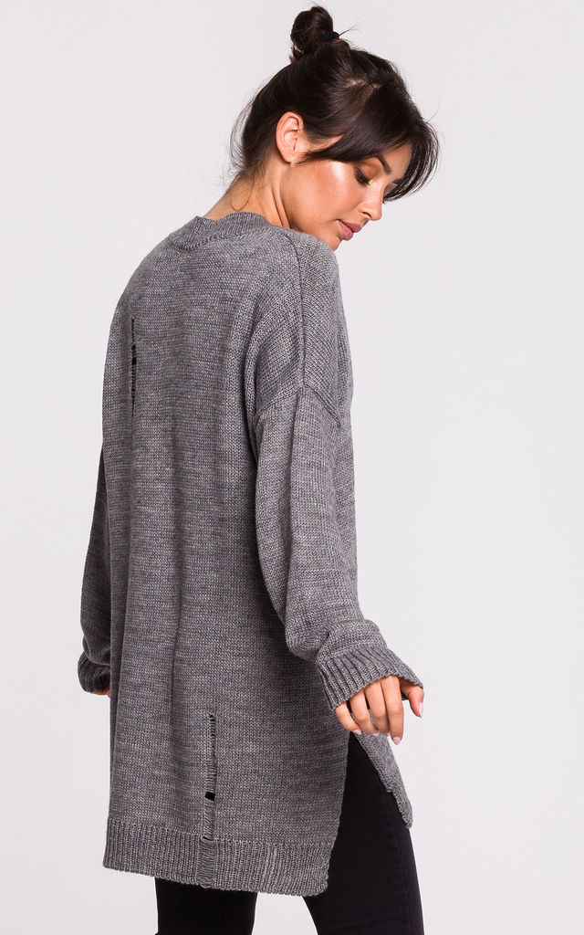 V Neck Jumper with Distressing in Grey by MOE