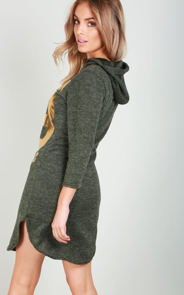 Khaki Sweater Dress with New York Slogan Print by Oops Fashion
