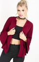 Flare Sleeve Peplum Blazer In Wine Red by Oops Fashion