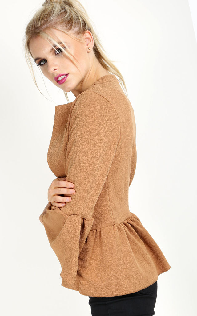 Flare Sleeve Peplum Blazer In Camel by Oops Fashion