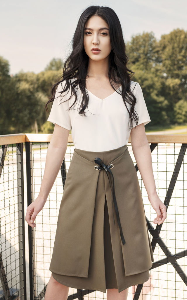 A-Line Midi Skirt in Khaki by Lanti