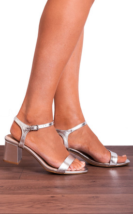 Silver Metallic Ankle Strap Low High Heeled Peep Toes Strappy Sandals by Shoe Closet