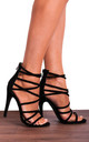 Black Faux Suede Strappy Sandals High Heels Peep Toes by Shoe Closet