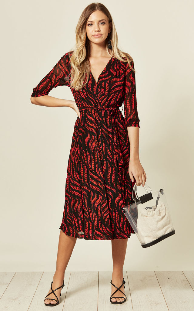 Wrap Midi Lace Dress in Black/Red Leaf Print by TENKI LONDON