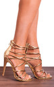 Gold Barely There Stiletto Heels with Straps by Shoe Closet