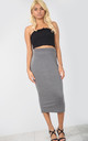High Waisted Midi Pencil Skirt in Charcoal Grey by Oops Fashion