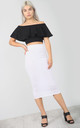 High Waisted Midi Pencil Skirt in White by Oops Fashion