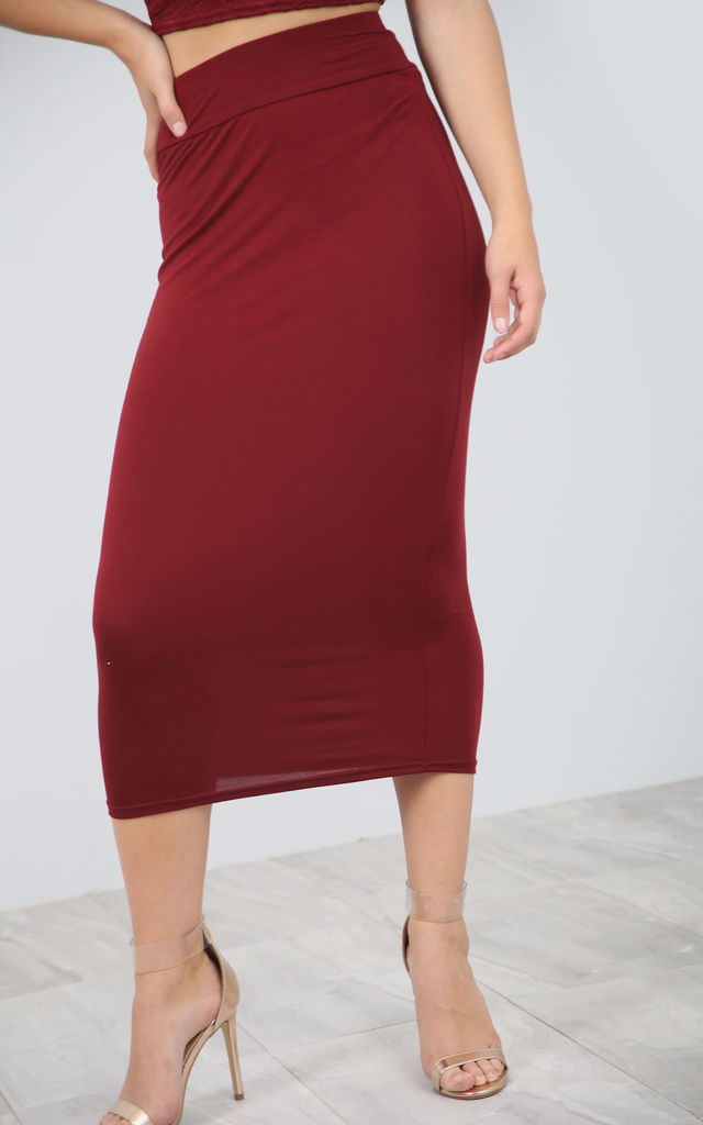 High Waisted Midi Pencil Skirt in Wine Red by Oops Fashion
