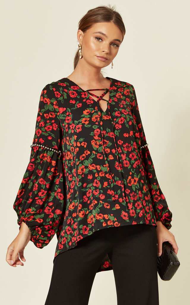 Oversized Balloon Sleeve Top in Black Floral Print by Gini London