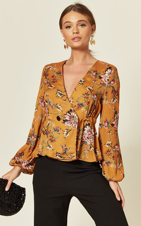 Peplum Wrap Top in Mustard Floral Print by MISSTRUTH