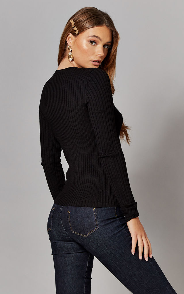 Ribbed Round Neck Knitted Top in Black by ONLY