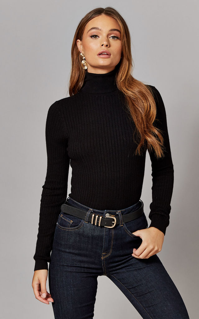 Ribbed Rollneck Knitted Pullover in Black by ONLY