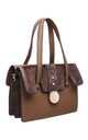 BROWN FLAP OVER SHOULDER BAG WITH FAUX FUR by BESSIE LONDON