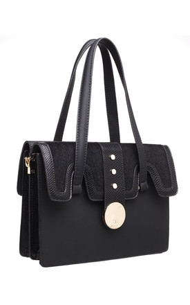 BLACK FLAP OVER SHOULDER BAG WITH FAUX FUR by BESSIE LONDON