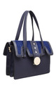NAVY FLAP OVER SHOULDER BAG WITH FAUX FUR by BESSIE LONDON