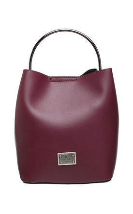 RED BUCKET BAG WITH METAL HANDLE by BESSIE LONDON