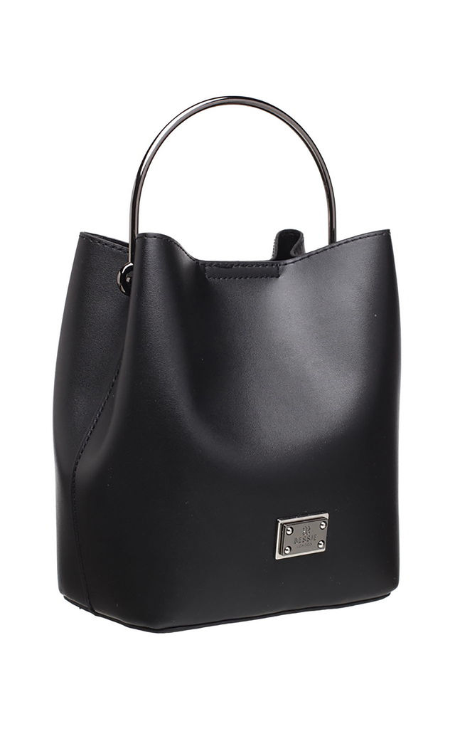 BLACK BUCKET BAG WITH METAL HANDLE by BESSIE LONDON
