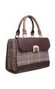 BROWN TOTE BAG WITH TWEED FLAP TOP by BESSIE LONDON