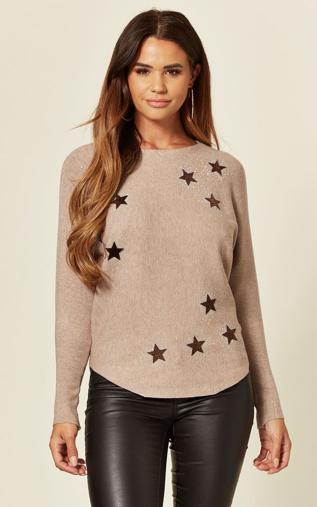MAHNOOR TAUPE BATWING JUMPER WITH STARS by Blue Vanilla