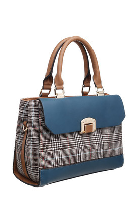 BLUE TOTE BAG WITH TWEED FLAP TOP by BESSIE LONDON