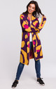 Long Cardigan in Yellow & Purple Abstract Print by MOE