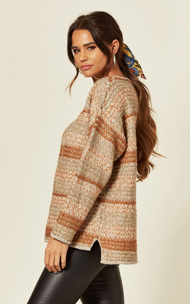Oversized Knitted Jumper in Brown Stripe by CY Boutique