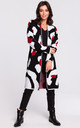 Long Cardigan in Black & White Abstract Print by MOE
