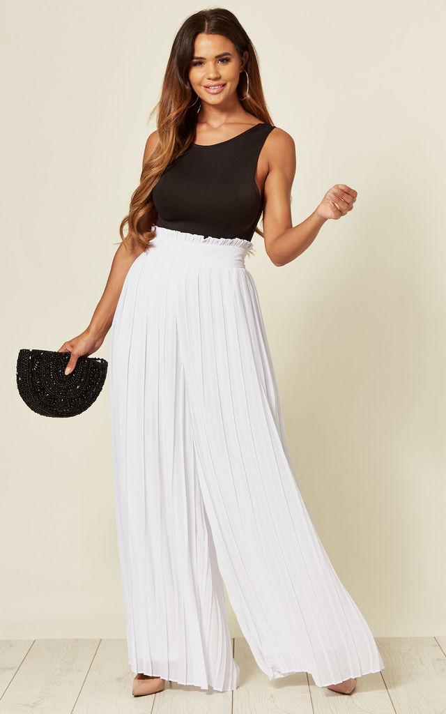 Luana Wide Leg Pleated Trousers in White by TFNC
