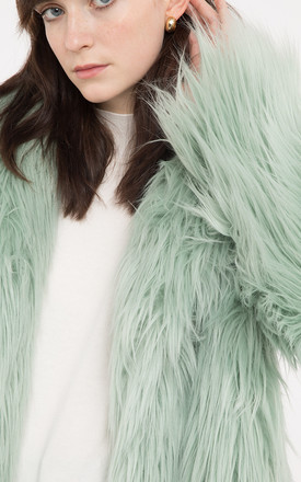 Mint  Heather Luxe Faux Mongolian Faux Fur Jacket by Anastasia Fashions
