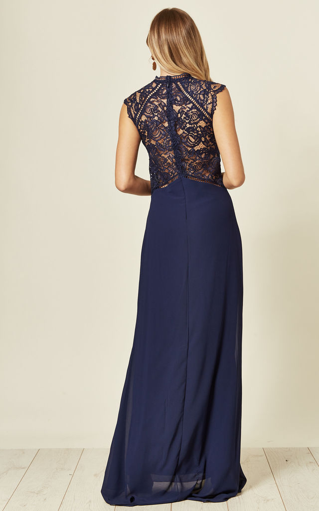 Ineka Navy Maxi Dress with Lace Details by TFNC