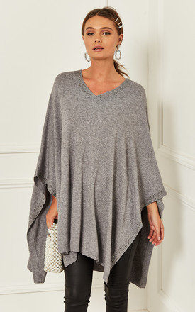 Poncho With Sequin Detail In Grey by Bella and Blue Product photo