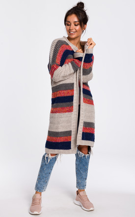 Long Open Front Cardigan In Beige Multi Stripe by MOE Product photo