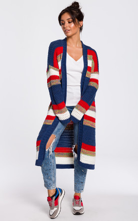 Long Open Front Cardigan In Navy Multi Stripe by MOE Product photo