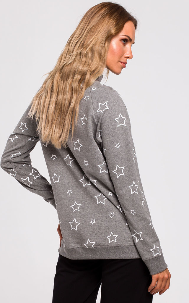 Grey Oversized Sweatshirt with Star Print by MOE