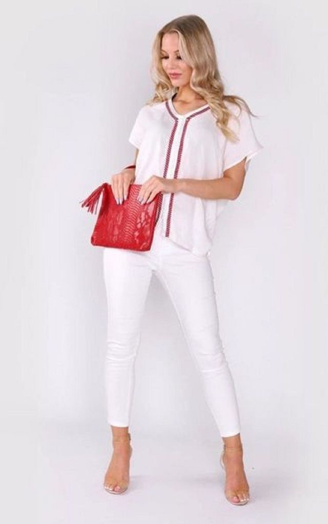 Sabah Short Sleeve Top in White by Diamantine