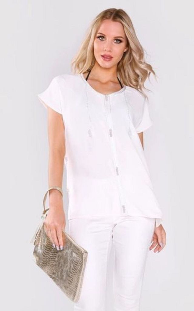 Amira Short Sleeved Top in White by Diamantine