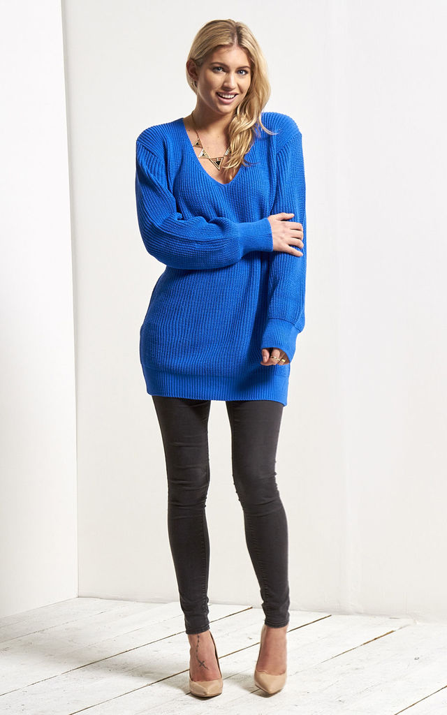 cheap custom latest discount Grace Knitted Jumper In Royal Blue By Oops Fashion