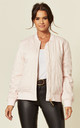 Oversized Satin Quilted Bomber Jacket in Pink by CY Boutique
